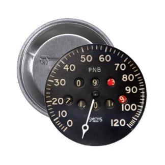 Altes Geschwindigkeitsmessermessgerät von einem Runder Button 5,7 Cm