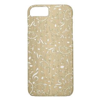 Altes Gold mit ElfenbeinMusiknoten und Clefs iPhone 8/7 Hülle