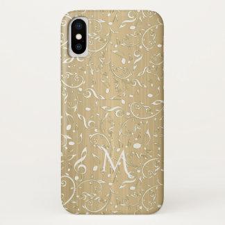 Altes Gold mit ElfenbeinMusiknoten und Clefs iPhone X Hülle