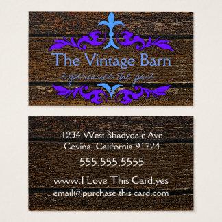 Altes Holz und blaues Florish Visitenkarte