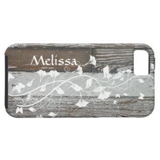 Altes Holz weißes mit Blumenpersonalisiertes Etui Fürs iPhone 5