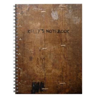 """Altes """"hölzernes"""" Notizbuch mit (oder außen) Ihrem Notizblock"""