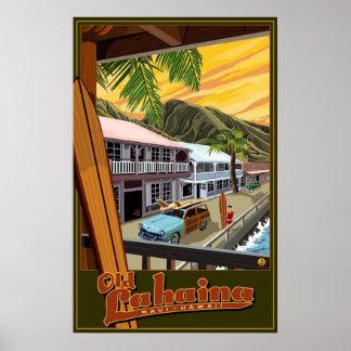 Altes Lahaina, Hawaii-Brandungs-Reise-Plakat Poster