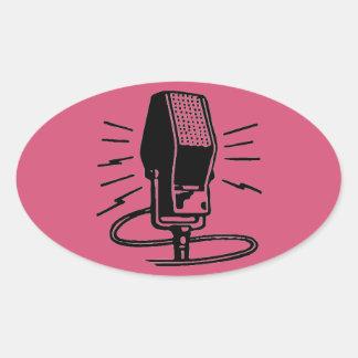 Altes Mikrofon Ovaler Aufkleber