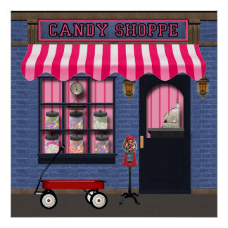 Altes Mode-SüßigkeitShoppeplakat Poster