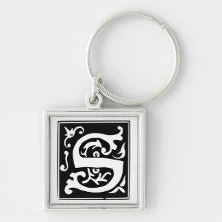 Altes Monogramm Keychain des Kalligraphie-Buchstab Schlüsselanhänger
