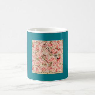 Altes Muster der Rosen-Gartenkaffee- oder Tasse