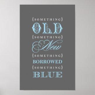 Altes neues ausgeborgtes blaues Thema des Brautpar Poster