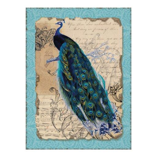Altes Pfau-Brautparty laden - Aqua-Blau ein Personalisierte Ankündigungskarten