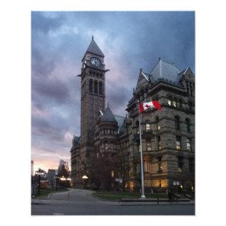 Altes Rathaus Torontos an der Dämmerung Fotografien