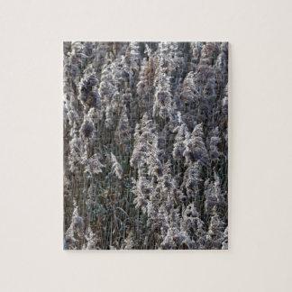 Altes Reedgras an einem Wintertag Puzzle