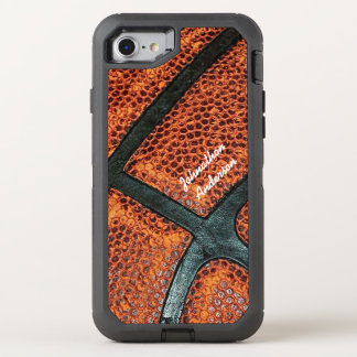 Altes Retro Basketball-Muster mit Namen OtterBox Defender iPhone 7 Hülle