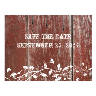 Altes rotes Scheunen-Holz Save the Date Postkarte