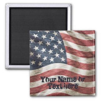 Altes Ruhm US-Flaggen-Rot, Weiß und Blau Quadratischer Magnet