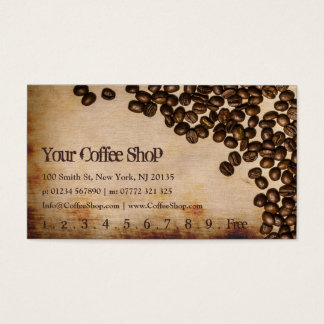 Altes Sackzeug-Kaffeebohne-Foto - Lochkarte Visitenkarte