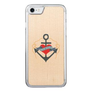 Altes Salz-Schiffs-Anker und Herz Carved iPhone 8/7 Hülle