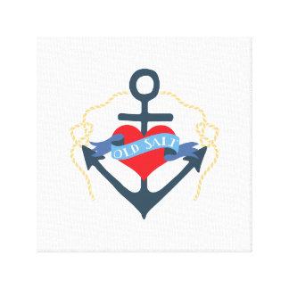 Altes Salz-Schiffs-Anker und Herz Leinwanddruck