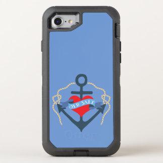 Altes Salz-Schiffs-Anker und Herz OtterBox Defender iPhone 8/7 Hülle