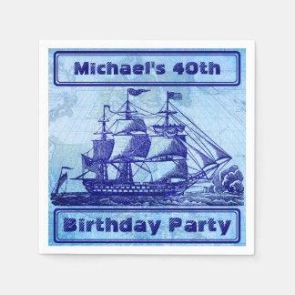 Altes Schiffs-und Karten-blaues Strand-Party Papierservietten