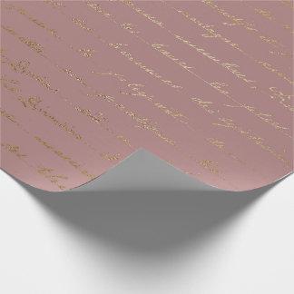 Altes Skript-Goldmalvenfarbene Flieder erröten Geschenkpapier