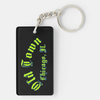 Altes Stadtrechteck (doppelseitiges) Keychain Schlüsselanhänger