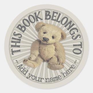 Altes Teddy-Bärn-Buchzeichen Runder Aufkleber