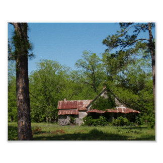 Altes verlassenes Zuhause im Süd-GA-Leinwand-Druck Poster