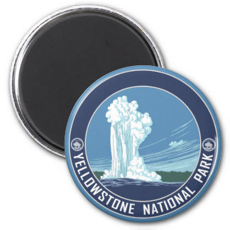 Altes zuverlässiges - Yellowstone Nationalpark Runder Magnet 5,7 Cm