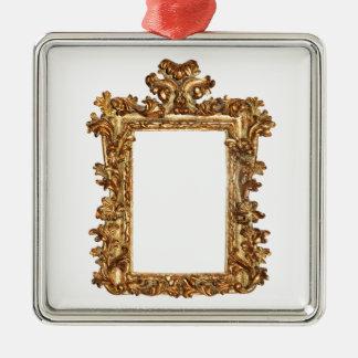 Altgoldrahmenisolate auf Weiß Quadratisches Silberfarbenes Ornament