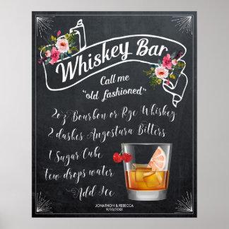 altmodische Cocktailwhisky-Bar-Zeichenhochzeit Poster
