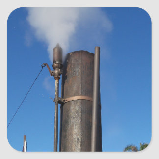 Altmodische Dampf-Pfeife Quadratischer Aufkleber