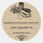 Altmodische einmachende Gemüseschablone Runde Sticker