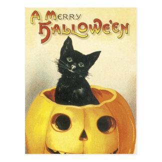 Altmodische fröhliche Halloween-Katze Postkarte