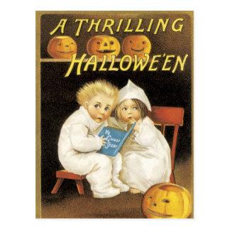 Altmodische Halloween-Gespenstergeschichte-Kinder Postkarte
