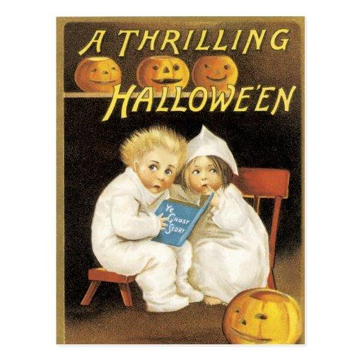 Altmodische Halloween-Gespenstergeschichte-Kinder Postkarten