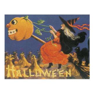 Altmodische Halloween-Hexe Postkarte