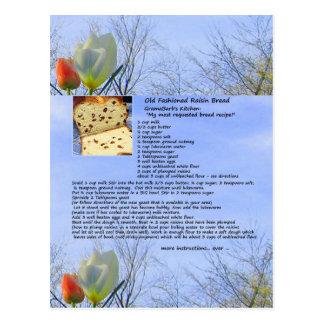 Altmodische Rosinen-Brot-Rezept-Postkarte Postkarte