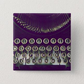 altmodische Schreibmaschine Quadratischer Button 5,1 Cm