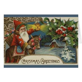 Altmodische ursprüngliche Sankt-Weihnachtskarte Karte