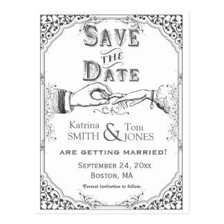 Altmodische viktorianische Zeremonie Save the Date Postkarte