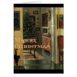 Altmodische Weihnachtskarte mit einer schwarzen Karte