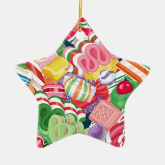 Altmodische Weihnachtssüßigkeits-Stern-Verzierung Keramik Ornament