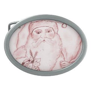 Altmodischer Weihnachtsmann im Rot Ovale Gürtelschnallen