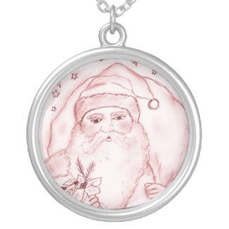 Altmodischer Weihnachtsmann im Rot Versilberte Kette