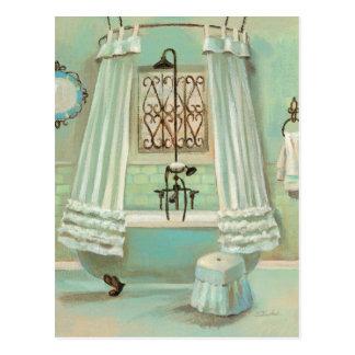 Altmodisches Badezimmer Postkarte