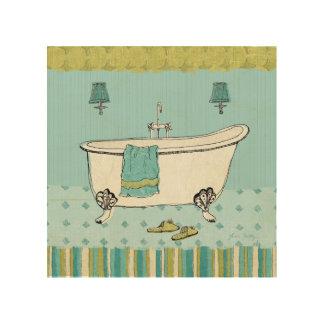 Altmodisches blaues Badezimmer Holzleinwand