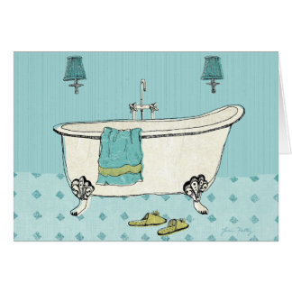Altmodisches blaues Badezimmer Karte