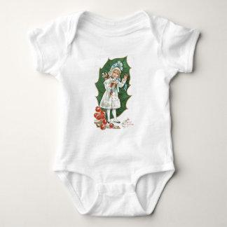 Altmodisches Weihnachtsstechpalmen-Beeren-Mädchen Baby Strampler
