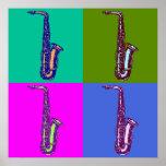 Altsaxophone-Pop-Kunst Poster