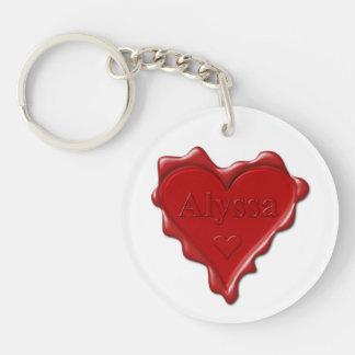 Alyssa. Rotes Herzwachs-Siegel mit NamensAlyssa Schlüsselanhänger